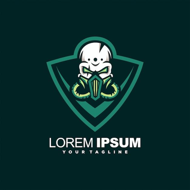 Grüner schädelkopf-logoentwurf Premium Vektoren