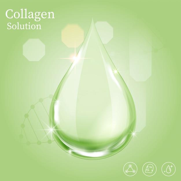 Grüner serumtropfen für schönheits- und kosmetikkonzept. Premium Vektoren