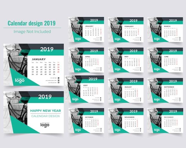 Grüner tischkalender 2019 Premium Vektoren