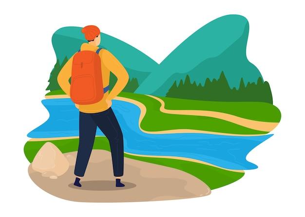 Grüner tourismus, naturreisen, bunte umgebung, sommerlandschaft, entwurfskarikaturartillustration, lokalisiert auf weiß. wandern, mann mit rucksack im freien reisen, fluss nadelwald. Premium Vektoren