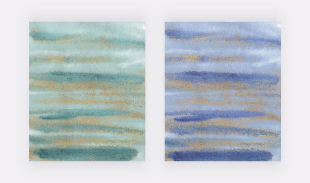Grüner und blauer aquarellpinselstrich mit goldglitter-texturabdeckungsdesign Premium Vektoren
