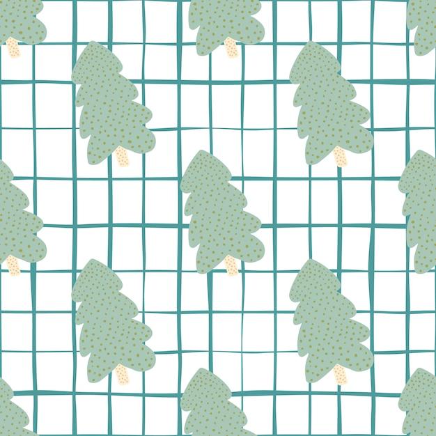 Grüner weihnachtsbaum mit weißem hintergrund und blauem scheck. nahtloses muster. illustration. für stoff, textildruck, verpackung, bezug. Premium Vektoren