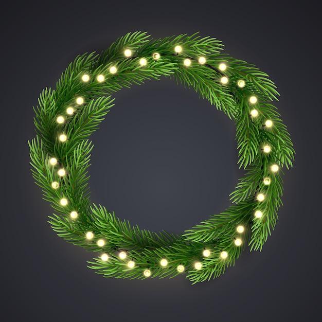 Grüner weihnachtskranz mit glühlampenschnur und kiefernniederlassungen. Premium Vektoren