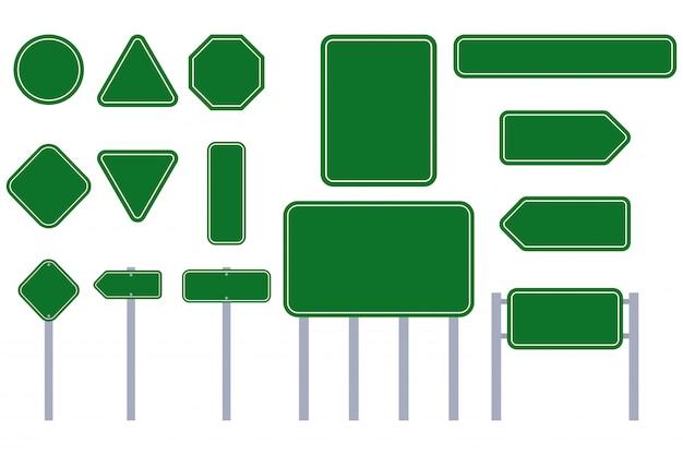 Grüner zeichenvektor-ebenensatz der straße lokalisiert auf einem weißen hintergrund. Premium Vektoren