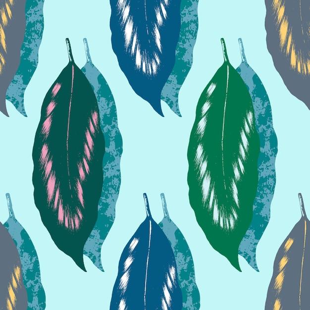 Grünes blatt mit nahtlosem muster der weißen, rosa und gelben schattierung und der beschaffenheit auf hellgrünem Premium Vektoren