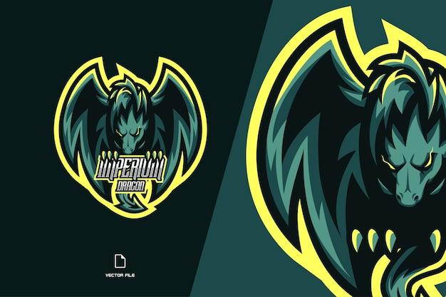 Grünes böses drachenmaskottchen-spielelogo für sport- und esport-teamschablone Premium Vektoren