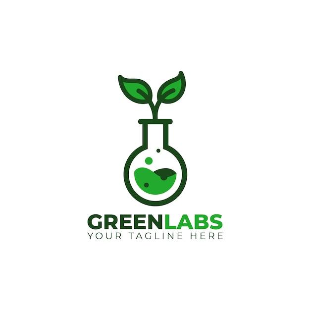 Grünes chemisches laborgefäß mit blattbaum-logoikone Premium Vektoren