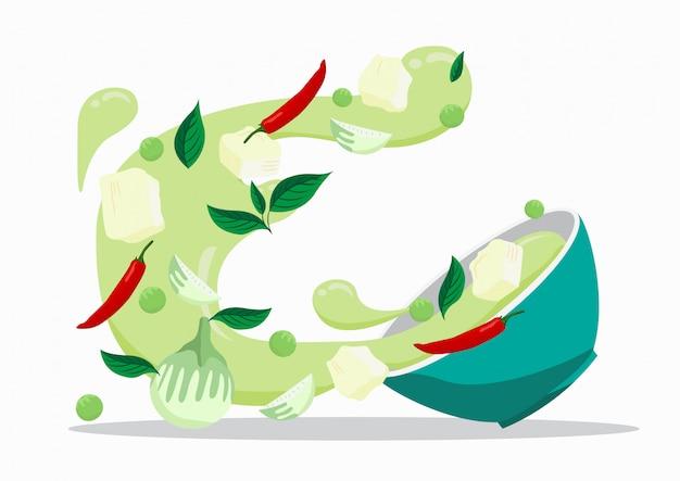 Grünes curry mit hühnchen. lebensmittel-vektor-design. Premium Vektoren