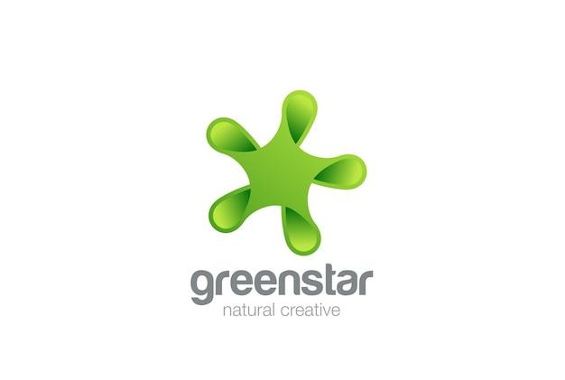 Grünes eco star abstraktes logo-symbol. Kostenlosen Vektoren