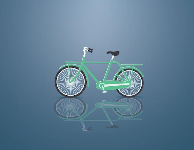 Grünes fahrrad auf dem blauen hintergrund Premium Vektoren