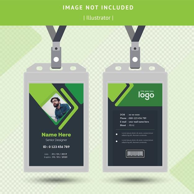 Grünes identifikations-karten-design Premium Vektoren
