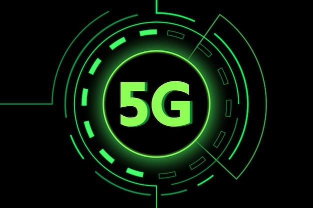 Grünes internet wifi der neuen technologie 5g Premium Vektoren