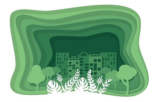 Grünes konzept der ökologie in der papierart Kostenlosen Vektoren