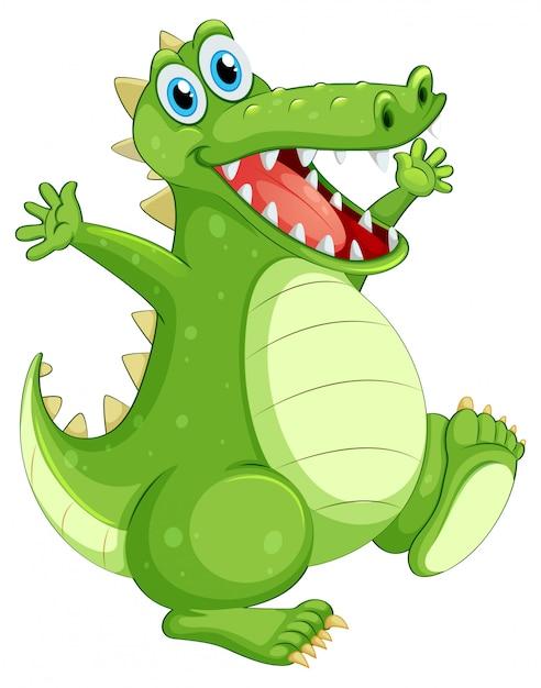 Grünes krokodil, das auf weiß steht Kostenlosen Vektoren