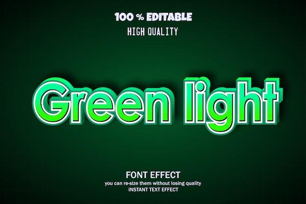 Grünes licht text, editierbare schrift wirkung Premium Vektoren