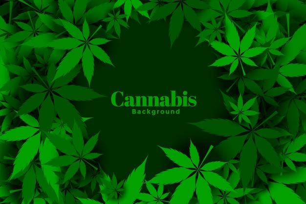 Grünes marihuana oder cannabis hinterlässt hintergrunddesign Kostenlosen Vektoren