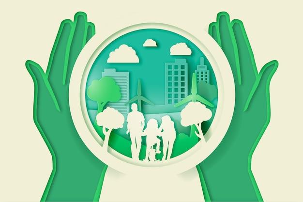 Grünes natur- und leutekonzept in der papierart Kostenlosen Vektoren