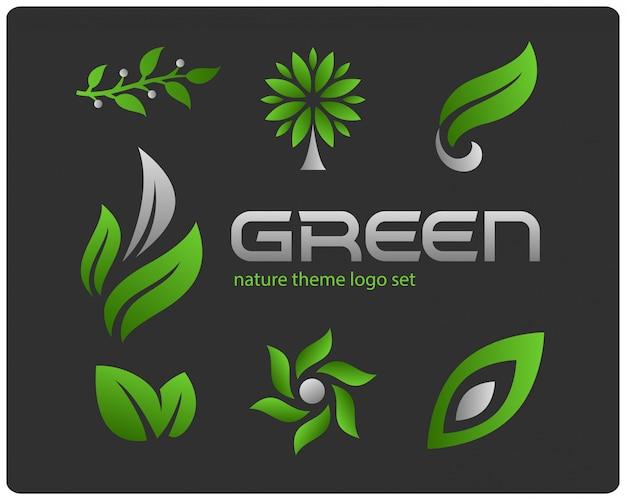 Grünes naturthema-logo-set Kostenlosen Vektoren
