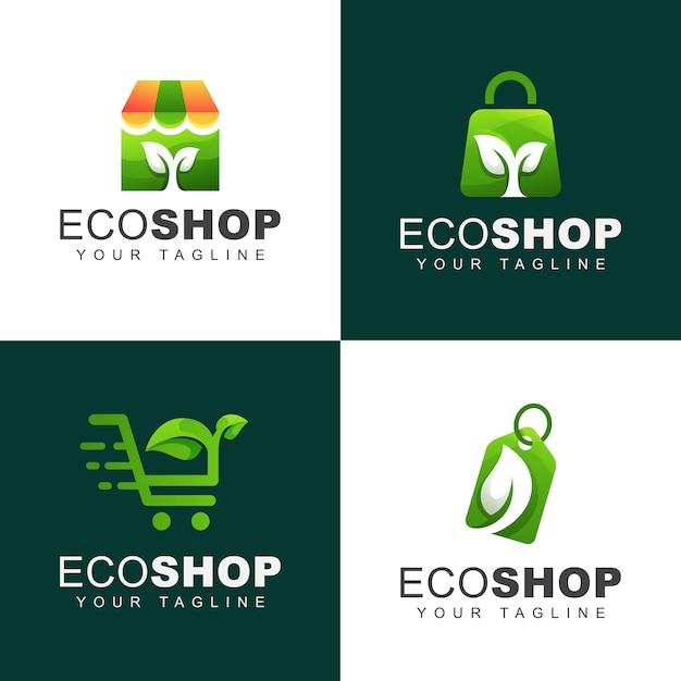 Grünes öko- oder naturgeschäft-logo-bündel Premium Vektoren