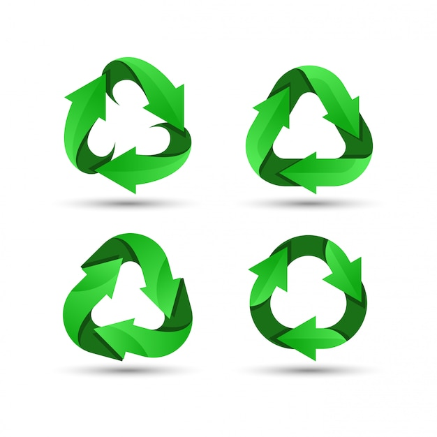 Grünes recycling-logo Premium Vektoren