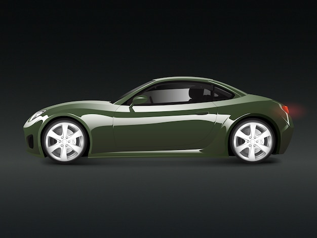 Grünes sportauto in einem schwarzen hintergrundvektor Kostenlosen Vektoren