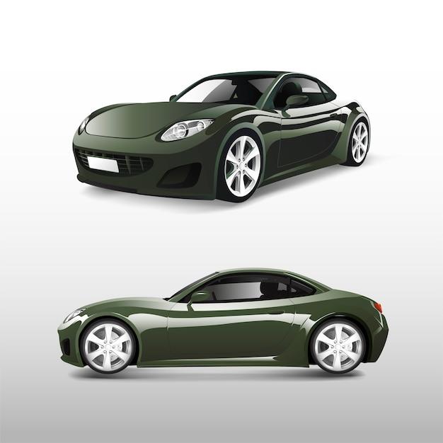 Grünes sportauto lokalisiert auf weißem vektor Kostenlosen Vektoren