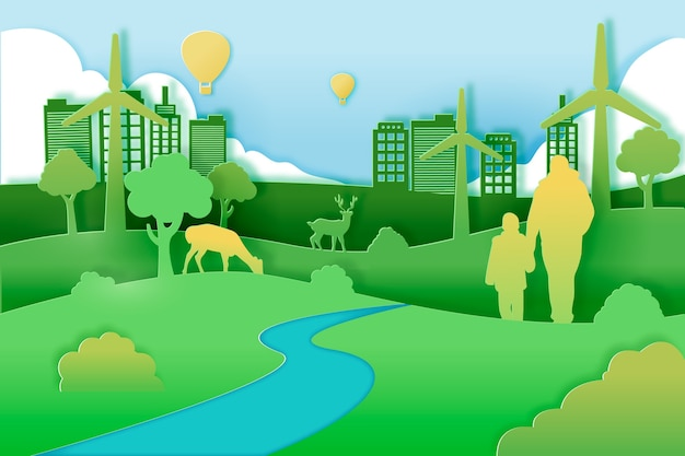 Grünes stadtkonzept in der papierart Kostenlosen Vektoren