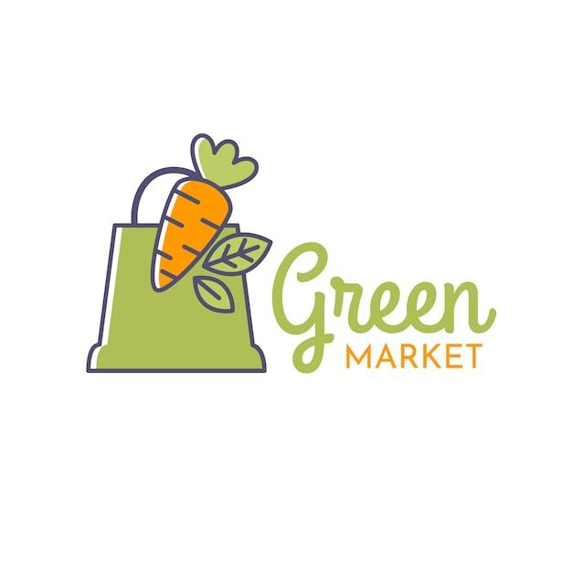 Grünes supermarktlogo Premium Vektoren
