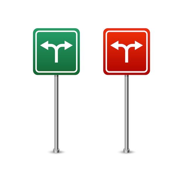 Grünes und rotes autobahnschild mit pfeilbrett. isolierte vektorillustration auf weißem hintergrund. Premium Vektoren