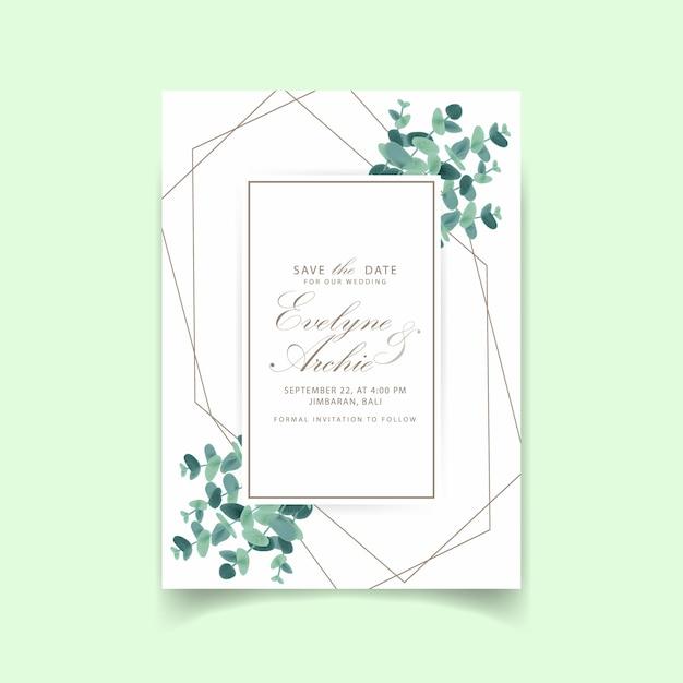 Grünhochzeitseinladung mit eukalyptusblättern Premium Vektoren