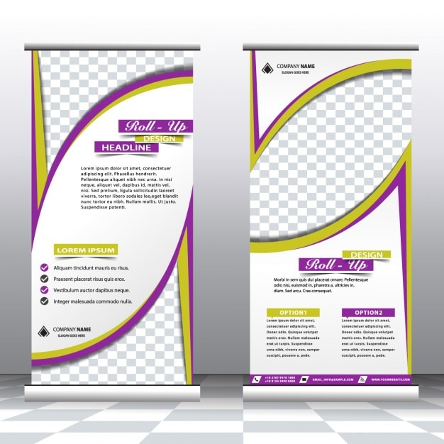 Gr n und lila roll up banner download der kostenlosen vektor for Lila und grun kombinieren