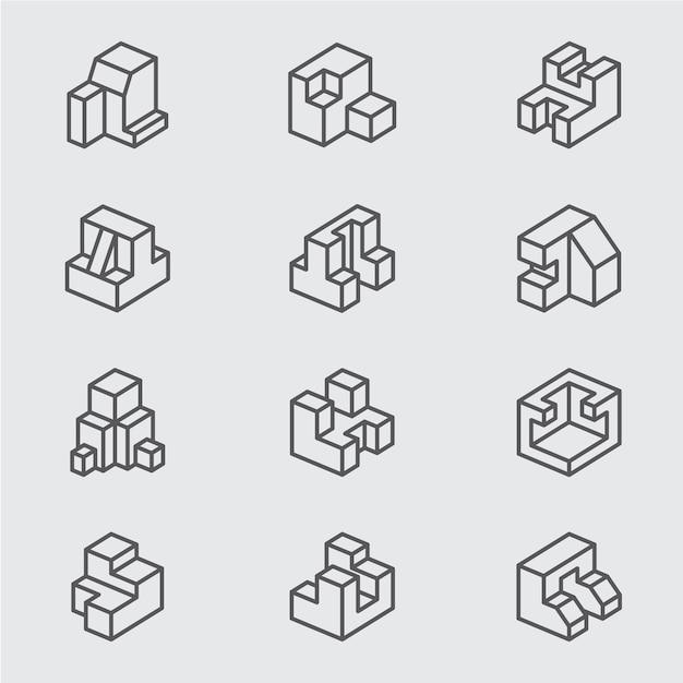 Grundlegende isometrische Linie Symbol | Download der Premium Vektor