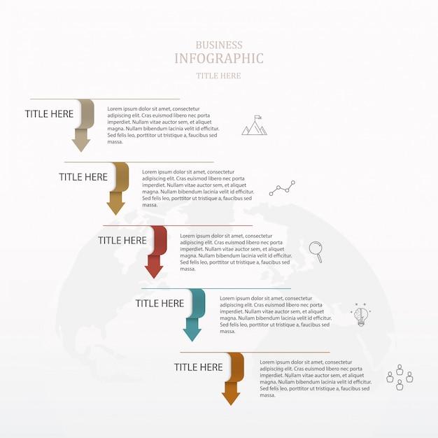 Grundpfeil 5 schritte infographik. Premium Vektoren