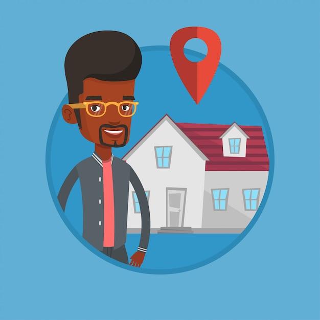 Grundstücksmakler auf hintergrund des hauses mit kartenzeiger. Premium Vektoren