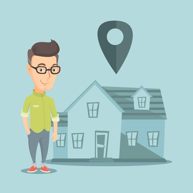 Grundstücksmakler im haus mit kartenzeiger. Premium Vektoren