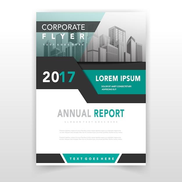 Grüne Deckung Jahresbericht Vorlage Kostenlose Vektoren