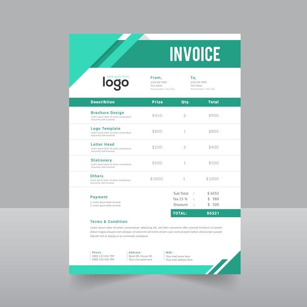 Grüne einfache Rechnung Vektor Vorlage | Download der Premium Vektor