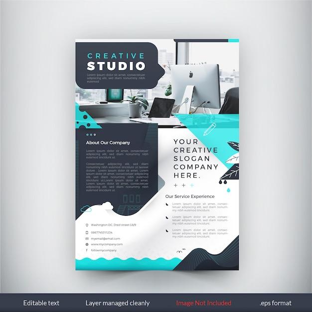 Grüne kreative Studio Flyer Vorlage | Download der Premium Vektor