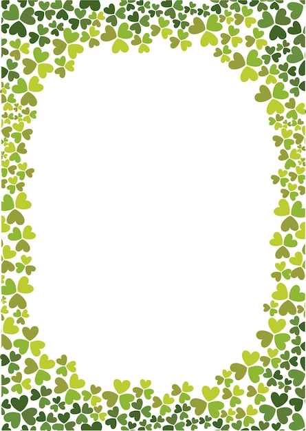 Grüner Farbabstufungs-Kleeblatt Rahmen | Download der Premium Vektor
