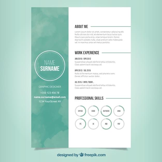 Grünes Lebenslauf Design Download Der Kostenlosen Vektor