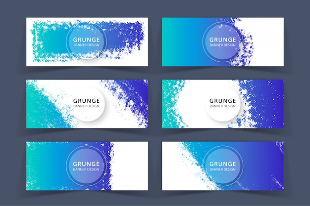 Grunge art blue banners set Premium Vektoren