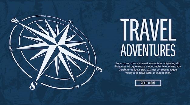 Grunge banner mit kompassrose Premium Vektoren