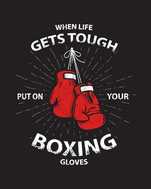 Grunge boxing motivation poster und druck mit boxhandschuhen, text, sunburst und grunge textur. Kostenlosen Vektoren