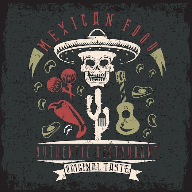Grunge emblem des restaurants mit totenkopf in mexikanischen hut Premium Vektoren