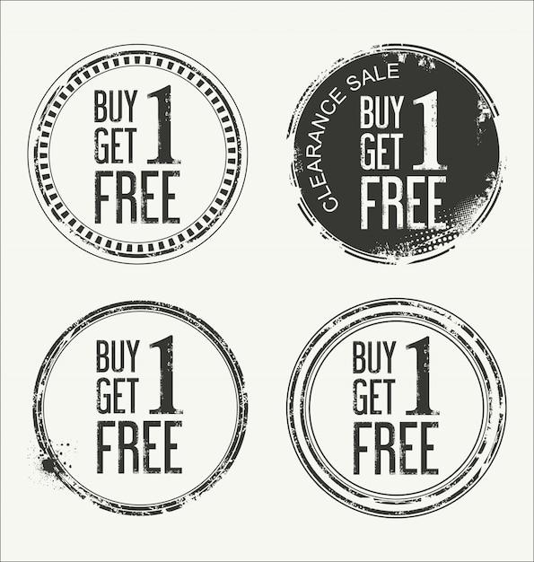 Grunge-gummi-label mit text buy one get one free Premium Vektoren