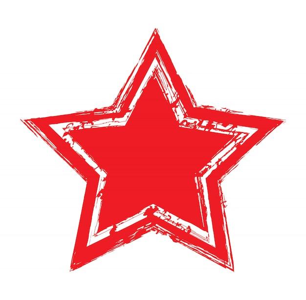Grunge rote sternsymbol Premium Vektoren
