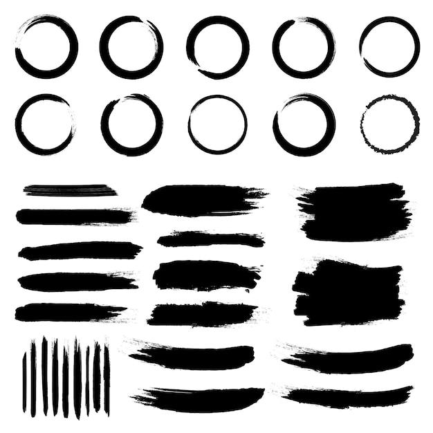 Grunge schwarze raue pinselstriche. Premium Vektoren