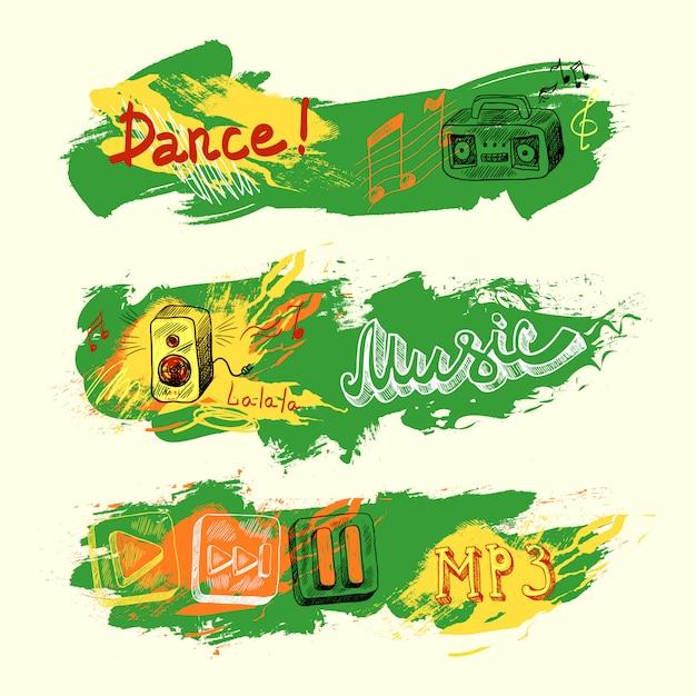 Grunge sketch musik banner Kostenlosen Vektoren
