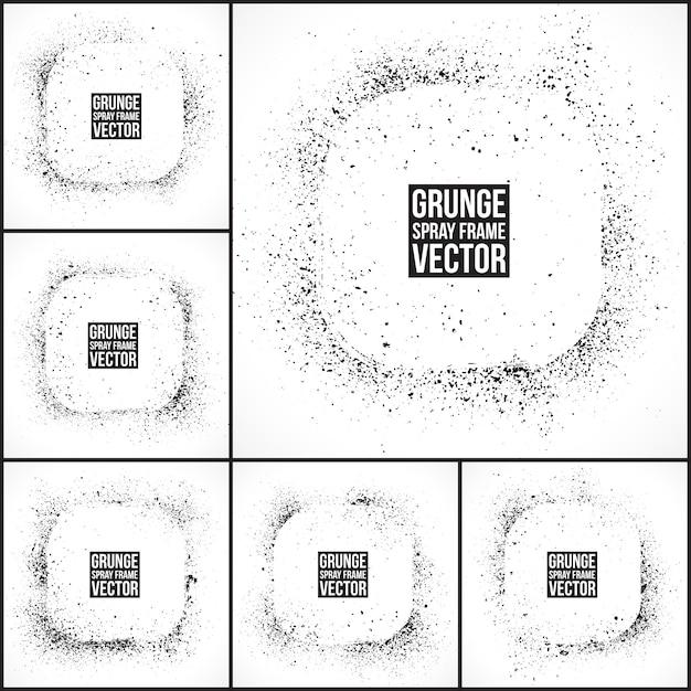 Grunge spray frames vector set Premium Vektoren