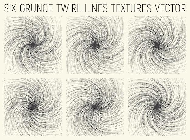 Grunge twirl linien texturen set Premium Vektoren